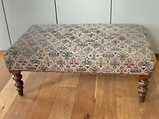 Vintage Patterned Foot Stool Foot Rest Seat Mahogany Wooden large 65cm fabric