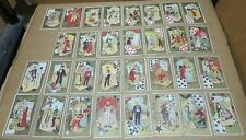 CARTES A JOUER ancien jeu de 32 cartes chromos Belle Epoque fonds or