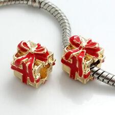 1pcs gold gift box CZ European Charm Beads Fit 925 Necklace Bracelet Chain #365