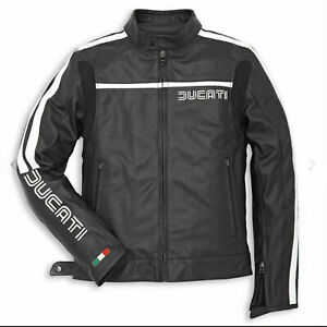 Ducati leather jacket 80S Black And Black with Red Strip