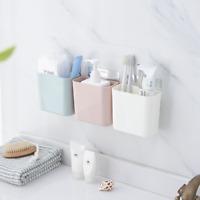 Wall Mount Organizer Toothbrush Toothpaste Holder Storage Bathroom Rack W