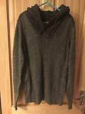 Next Men's Grey Knitted Pullover Hoodie - Size S