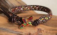 Hummingbird Colorful Leather Wrap Bracelet Beaded Duo Beads on Leather Yevga