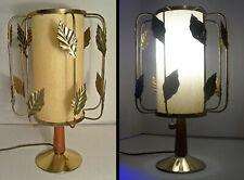 RARE VINTAGE MID-CENTURY MODERN SPACE AGE ATOMIC BRASS TOLEWARE TEAK TABLE LAMP