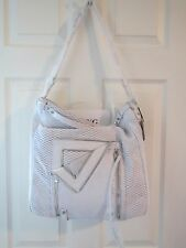 SHE+LO CREAM WHITE LEATHER ZIPPER STUDDED PURSE BAG NWT