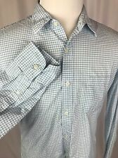 J. CREW Blue And White Check Men's Size Large Cotton Button Up Collared Shirt