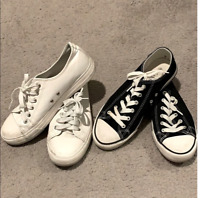 Aomais Womens Size 9 Black White Casual LaceUp Shoe Sneaker Set of 2