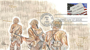 2966 32c POW/MIA Gold Leaf hand painted Cachet by Brenda Little [354262]