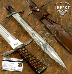 IMPACT CUTLERY RARE CUSTOM D2 FULLE DAGGER SWORD KNIFE DAMASCUS GUARD