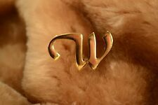 Pin Gold Tone Initial W Brooch