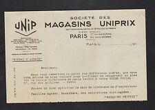 """PARIS (III°) GRANDS MAGASINS """"UNIPRIX"""" UNIP en 1935"""
