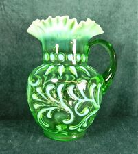 "JEFFERSON GLASS CO, OPALESCENT GREEN ""BUTTONS & BRAIDS"" #182 PAT. PITCHER - 1903"