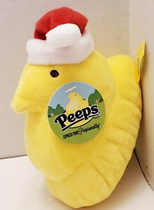 Toy Peeps Plush Christmas Santa Chick 5 inch - Yellow with Red Santa Hat