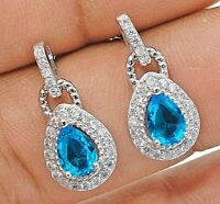 2CT Aquamarine & White Topaz 925 Solid Sterling Silver Earrings Jewelry, X1