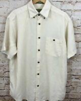 Orvis button down Shirt mens large Hemp Lyocell oatmeal bone Short Sleeve A4