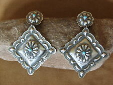 Navajo Indian Jewelry Handstamped Sterling Silver Turquoise Earrings - Tim Yazzi