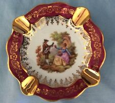 Vintage Red Limoges Ashtray Couples Courting Design