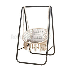 Hanging Hammock Chair w/ Iron Stand Indoor Outdoor Cotton Rope Swing Chair Decor