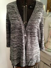 Coldwater Creek Womens 1x  18 Silk Cotton Gray Merle Cardigan Soft & Lovely!