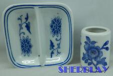 vintage asian oriental blue white mini sauce tray & toothpick