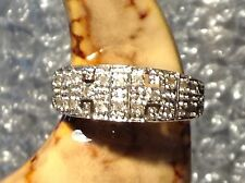 9ct YELLOW GOLD DIAMOND SET LADIES RING - SIZE K 1/2