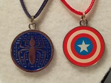 Lot of 2 Necklaces: Blue Spider on Suede Cord & Captain America on Red Satin
