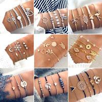 Multilayer Natural Stone Crystal Tassel Bangle Beaded Bracelet Fashion Jewelry
