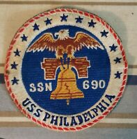 VINTAGE US NAVY SUBMARINE PATCH USS PHILADELPHIA SSN-690 LT. GRAY