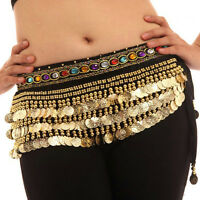 Belly Dance Waist Chain Hip Scarf Gold Coins Band Gemstone Velvet Belt Costume