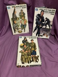 Trumpeter Lot Of 3 Open Box W/ SEALED PARTS complete Soviet Tank Crew Red Army!!