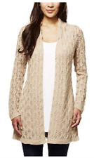 Leo & Nicole Women's Open Front Long Pointelle Cardigan Sweater Tan Linen S