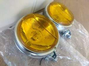 VINTAGE CAR FOG LIGHTS PAIR, L&R SIDE FOR RETRO & CLASSIC,  CARS, NEW,YELLOW