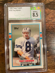 1989 Topps Traded #70T Troy Aikman ROOKIE CARD RC CSG 8.5 MINT DALLAS COWBOYS