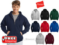 Hanes Full Zip Hoodie Cotton Blend Zipper Mens Hood Sweatshirt Pocket Plain P180