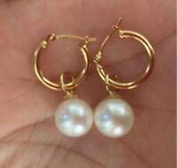 PERFECT AAA 7-8MM  south sea white round  natural pearl earrings 14K GOLD