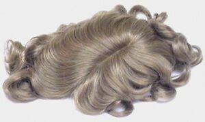 """MENS MONOFILAMENT MALE STRAIGHT HAIR WAVY ENDS WIG TOUPEE HAIRPIECE 6"""" X 8.5"""""""