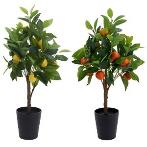 Artificial Plastic Fake Blooming Fruit Trees Fuax Plant Flower Pot Decoration