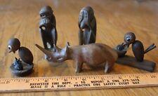 Lot of Wooden Animal Vintage Rhino Rhinoceros Monkey Bird Nest Handmade Figurine