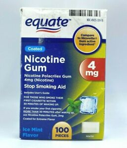 EQUATE COATED NICOTINE GUM, 4MG,ICE MINT FLAVOR,90 PIECES EXP 06/22,NEW OPEN BOX