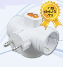 Korea NEW 3Way T-Bone Power Safety Switch Multi Plug Outlet Adapter Wall Socket