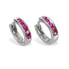 1 Paar Mädchen Wende- Creolen Ohrringe mit rosa Zirkonia Silber 925 rhodiniert