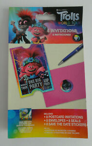Trolls World Tour Birthday Party Invitations 8 COUNT