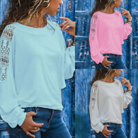 Ladies Women Autumn Lace Hollow Long Sleeve Casual T Shirt Top Bl NT