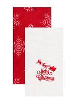 Bathroom Hand Towels Set of 2 Embroidered Merry Christmas Santa Sleigh Snowflake