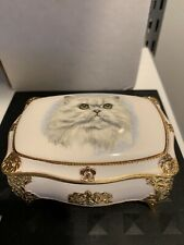 Vintage music box jewelry casket white cat porcelain metal Linden music box