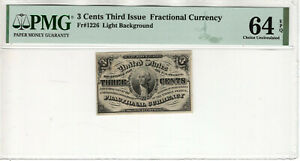 3 CENT THIRD ISSUE FRACTIONAL POSTAL CURRENCY FR.1226 PMG CHOICE UNC 64 EPQ(004)