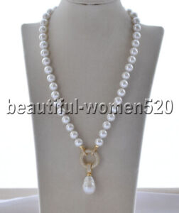 Z9909 22mm White Keshi & Round shell Pearl Necklace Pendant CZ 21inch