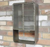 Metal Industrial 2 Door Wall Mounted Cupboard Retro Floating Storage Cabinet New