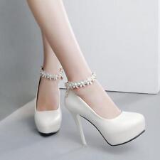 Zapatos de Salón Stiletto 12CM Elegantes Blanco Novia Plataforma Piel Sint 8204