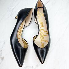 Sam Edelman Linda Black Half d'Orsay Leather Heels Pumps Shoes Size 8 Womens
